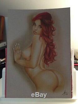Dessin Original Femme Dedicace Planche Bd Akt Nudo Nude Nu Feminin Woman Art 011