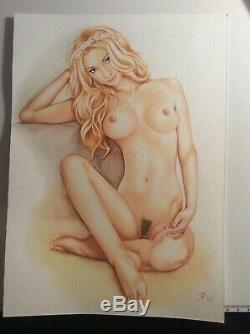 Dessin Original Femme Dedicace Planche Bd Akt Nudo Nude Nu Feminin Woman Art 013