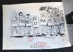 Dessin Planche Original Christian GATY Publicité FRIPOUNET ET MARISETTE B2.37