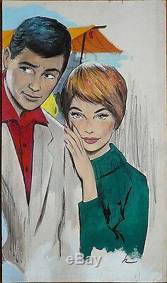 Dessin illustration gouache de Hugues GHIGLIA pour Bonjour Bonheur 1964 Aslan
