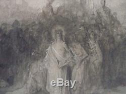Dessin original Gustave DORÉ (1833-1883) Le Christ quittant le prétoire drawing