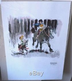 Dessin original aquareller superbe R. Follet Hommage a Peyo johan et pirlouit