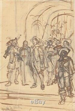 Dessin original au crayon de Alphonse De NEUVILLE (1835 -1885) mousquetaires