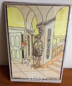 Dessin original couleur superbe Wasterlain hommage a TINTIN et Hergé