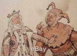 Dessin original de Henri PILLE (1844-1897) illustration Fou du Roi Reine