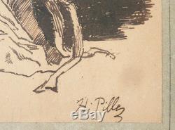 Dessin original de Henri PILLE (1844-1897) japonaise geisha Japon illustration