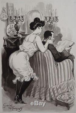 Dessin original de Lubin DE BEAUVAIS (1873-1917) illustration érotique