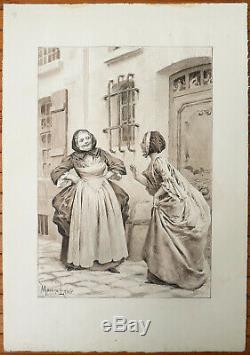 Dessin original de Maurice LELOIR (1851-1940) illustration au lavis
