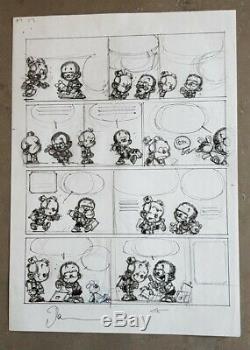 Dessin original, dédicace, planche préparatoire du petit Spirou, Dan Verlinden