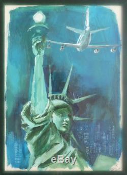 Dessin original gouache de Georges BEUVILLE Statue de la Liberté New-York