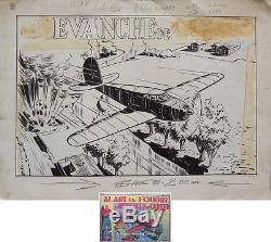 Dessin original pour la couverture de ALAIN LA FOUDRE (1948) Dick Fulmine Avion