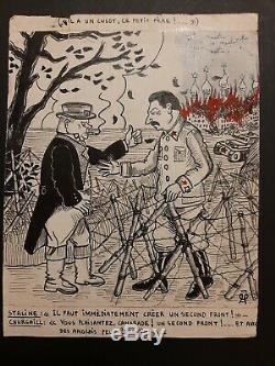 Dessin planche original gaillard illustrateur de 1939/45 staline churchill