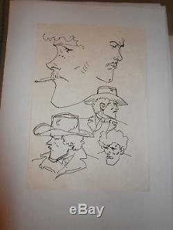 Dessins Original Encre De Jean Giraud Moebius Etudes Recto Verso Rare Jim Cutlas