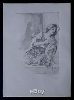 Edwin BLASHFIELD 1900 Jeux de société planche Originale chine Art & Craft dessin