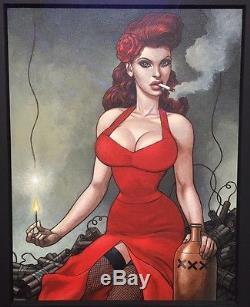 FRED BELTRAN Superbe Dessin original COULEUR Miss Dynamite 4856 Cm