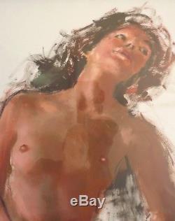 Femme nue peinture gouache de Pierre Laurent BRENOT (1913-1998) jarretelles