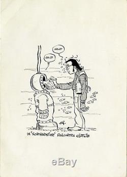 Gotlib Dessin Original Inédit Circa 1974 Le Scaphandrier Rencontre Gotlib