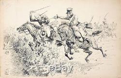Grand dessin à l'encre de Louis BOMBLED (1862-1927) militaire guerre hussard