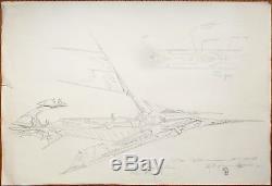 Grand dessin original Philippe DRUILLET le Ring de Wagner 2001 vaisseau drawing