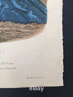 Grande gravure la mode illustrée 1866 planche 23 Dessin Anaïs Toudouze