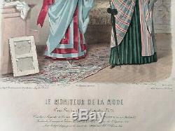 Gravure le moniteur de la mode dessin de Jules David année 1883 planche n° 7