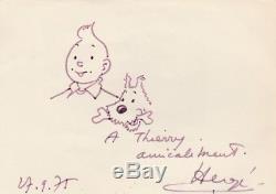 HERGE Dessin Tintin et Milou original dédicacé, signé