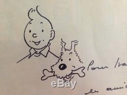 HERGE / TINTIN et MILOU dessin original dédicacé signé /TBE encadrement de luxe