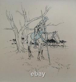 Henry Morin Cervantes Don Quichotte 4 Dessin Encre Crayon 1905 Planche Originale