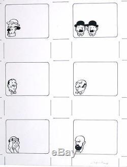 Hergé (Studio) Tintin 6 illustrations en une planche originale encre de Chine