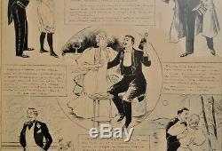 Jehan Testevuide (1873-1922) Planche de Dessin original daté de 1895