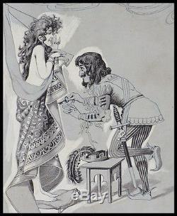 La ceinture de chasteté Dessin original à l'encre vers 1890 érotisme