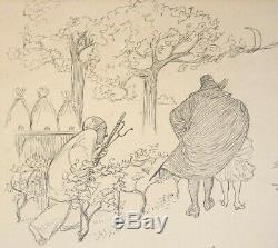 La mort de Pierrot dessin original de Adolphe WILLETTE (1857-1926) planche BD