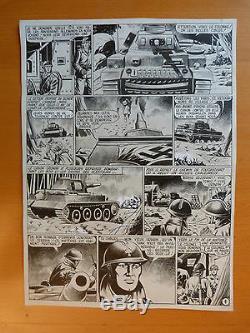 Lot Planches Dessin Encre Bd Original Histoir Complet Aviation Char Guerre Milit