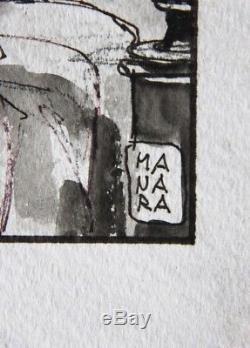MANARA Belle illustration discrètement érotique ENCRE et LAVIS sur papier (1991)