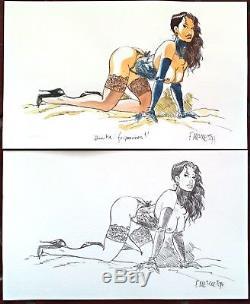 MEYNET Aquarelle JEUNE FEMME SEXY + Crayonné