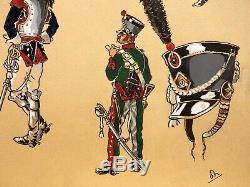 MILITARIA Planche Originale XXe DESSIN Etude Uniformes Armée Napoléon Monogramme