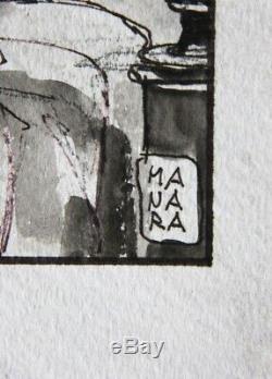 Milo Manara, Beau Dessin Original Au Lavis