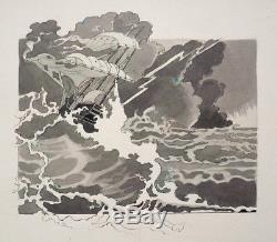 Naufrage Dessin original de Félix LORIOUX pour ROBINSON CRUSOÉ 1930