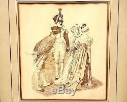 PILLE Henri (1844-1897) Dessin à l'encre Avec la Gravure au dos Illustrateur