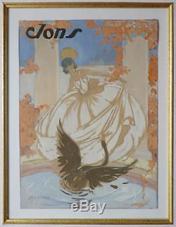 Parfum JONS Projet d'affiche dessin gouache de RAY LAMBERT vers 1935