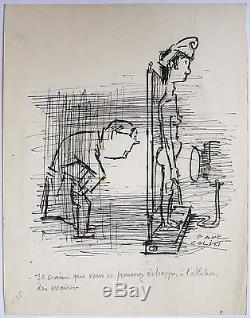 Paul COLIN (1892-1985) Dessin original Humour politique vers 1945