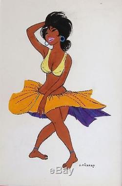 Pichard Illustration originale à la Gouache Danseuse brésilienne 24X32