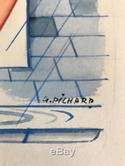 Pichard Illustration originale couleur Jeune femme se lavant à la fenêtre