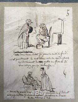 Planche 9 Dessins Originaux Encre Humour Caricature Par Cham (1818-1879) XIXe