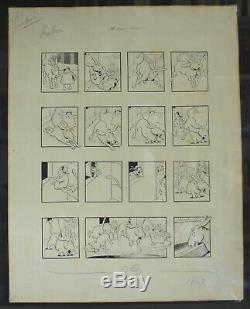 Planche Dessin originale Benjamin Rabier (1864-1939) 10 degrés au dessous