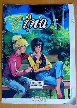 Planche Gouache Bd Dessin Original Couleur Tina 1969 Primevere 29/20 CM