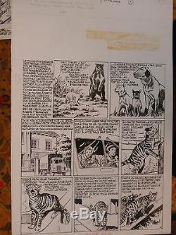 Planche Originale Dessin Original Art Pif Nortier 50/33 CM Chat Chien Ours