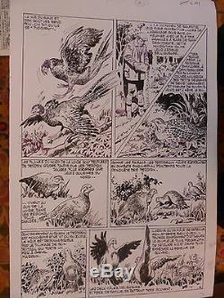 Planche Originale Dessin Original Art Pif Nortier Faisans Perdreaux 50/33 CM