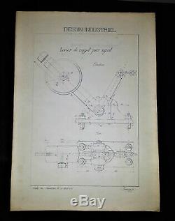Planche de Dessin industriel originale École du Familistère de Guise -1896