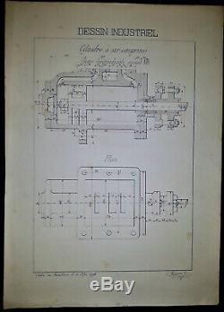 Planche de Dessin indusutiel originale École du Familistère de Guise -1898